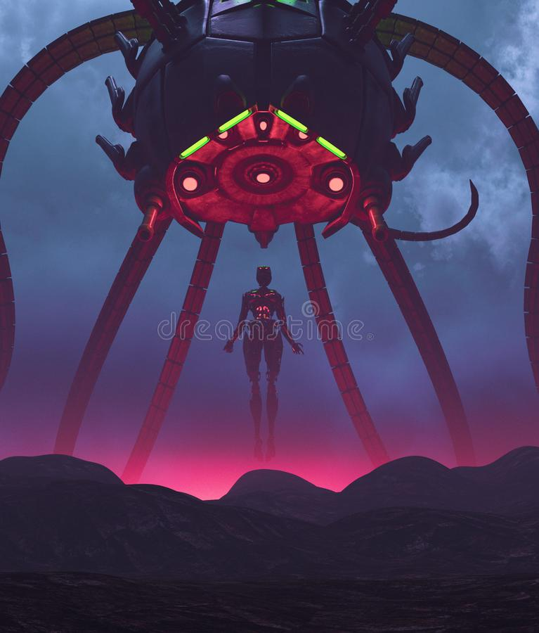 Robot with a giant alien ship stock illustration