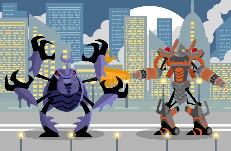 Robot gigante del lanciafiamme che combatte uno scarabeo gigante illustrazione di stock