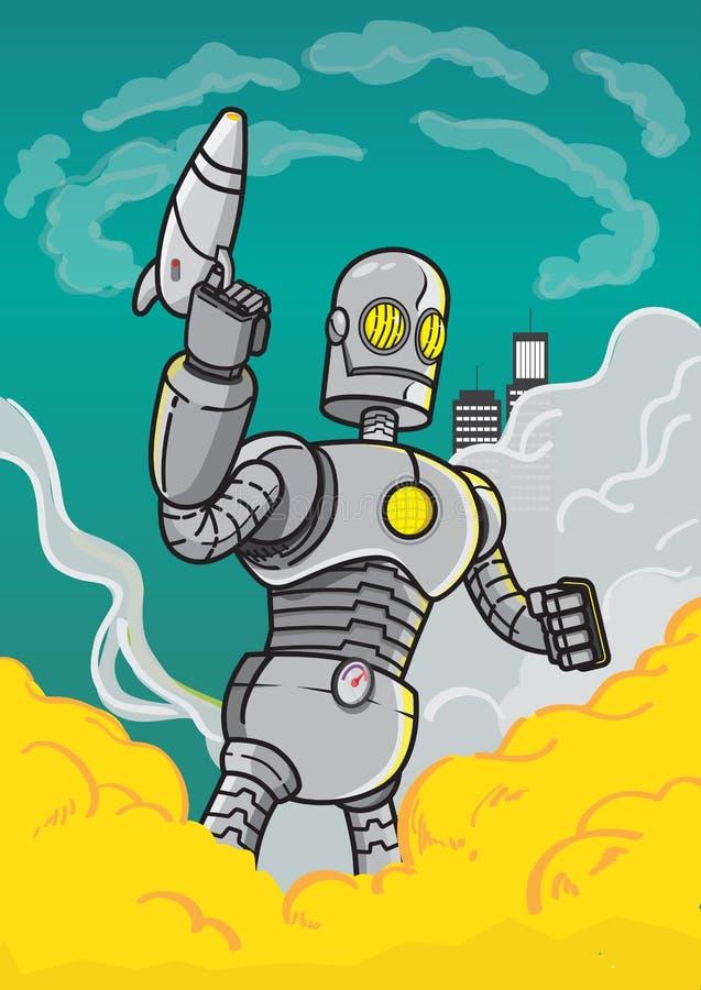Robot gigante en zona de guerra stock de ilustración