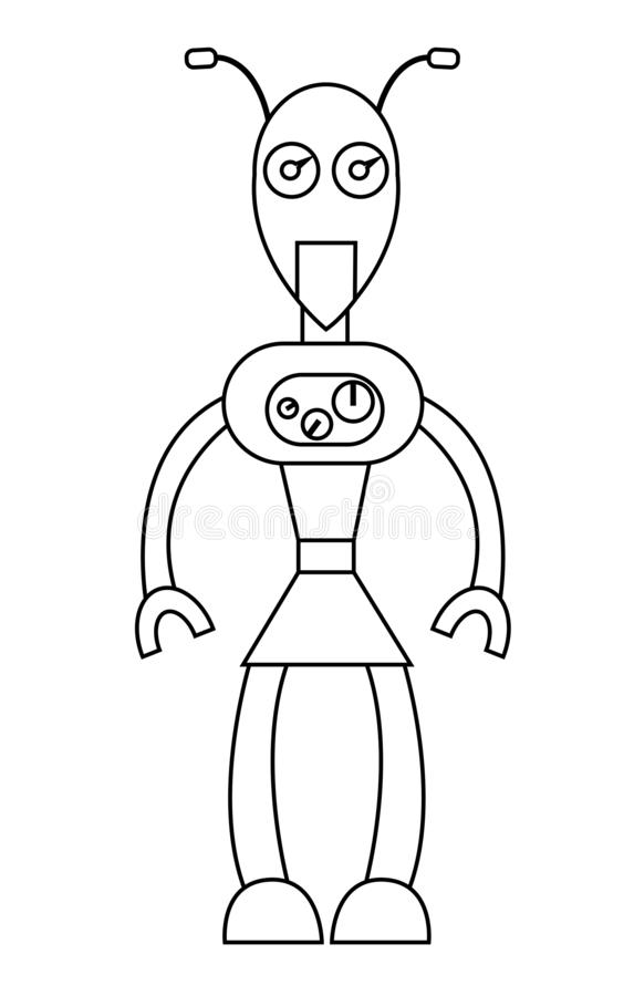 Robot girl outline character. Isolated stock vector illustration stock illustration