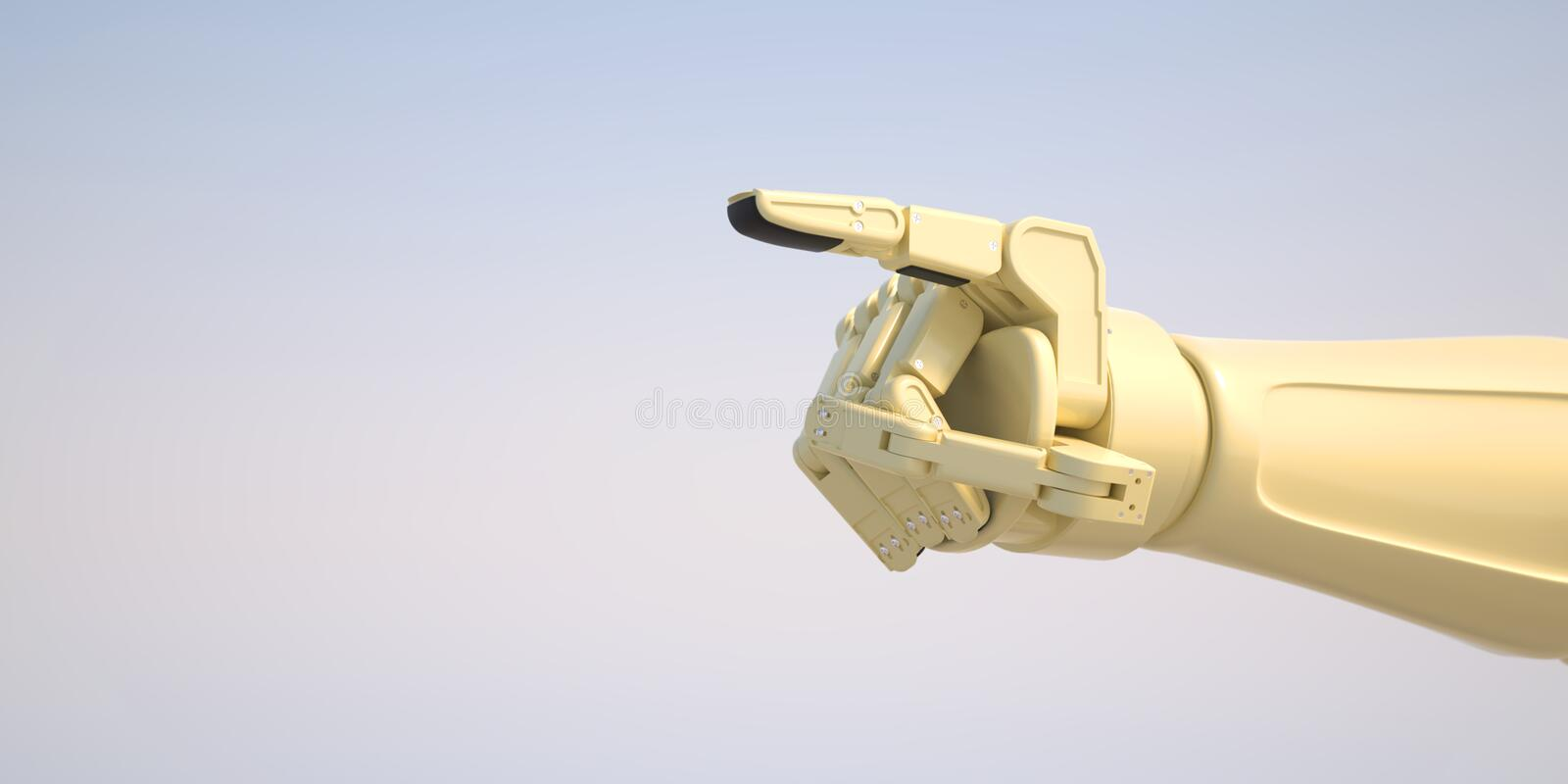 Robot giving command with his index finger. A robot pointing with his index finger a symbol for dictation of technology royalty free stock photography