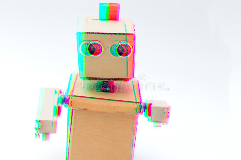 Robot glitch effect. Artificial intelligence. Robot glitch effect on white background. Artificial intelligence stock photography