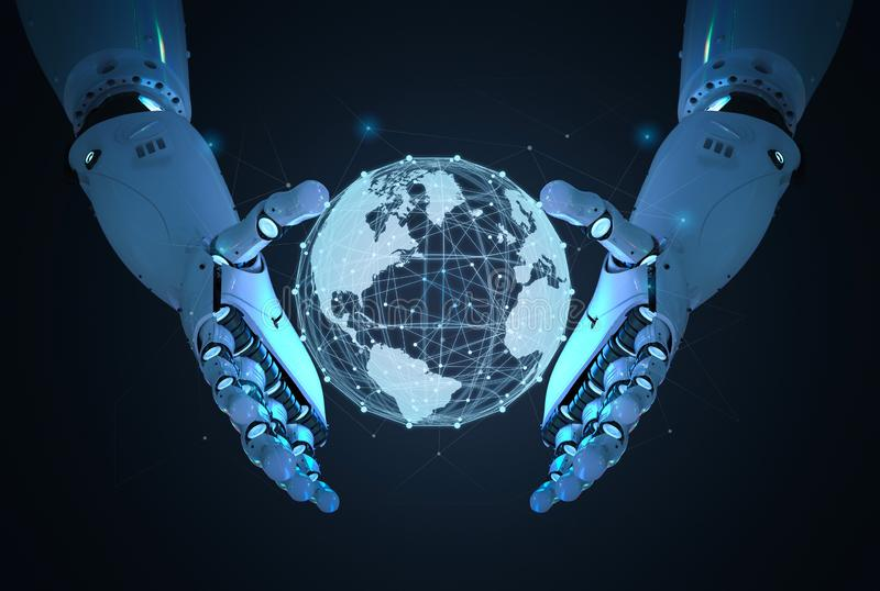 Robot with global connection royalty free illustration