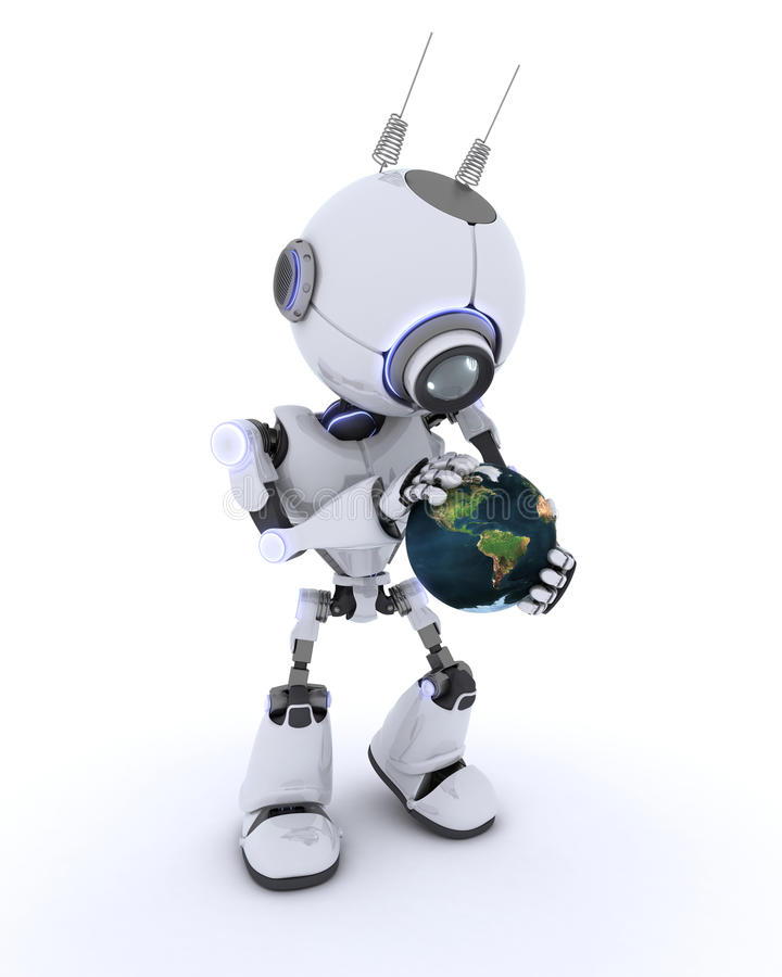 Robot with globe stock illustration