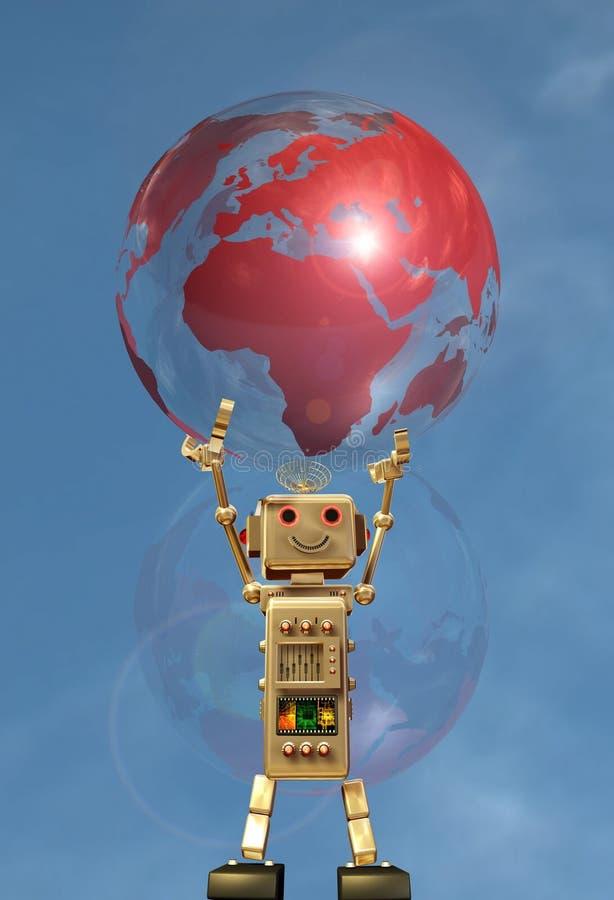 Robot and globe earth
