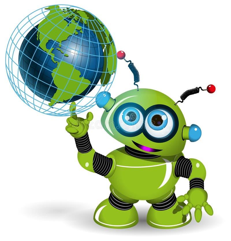 Robot and globe royalty free illustration
