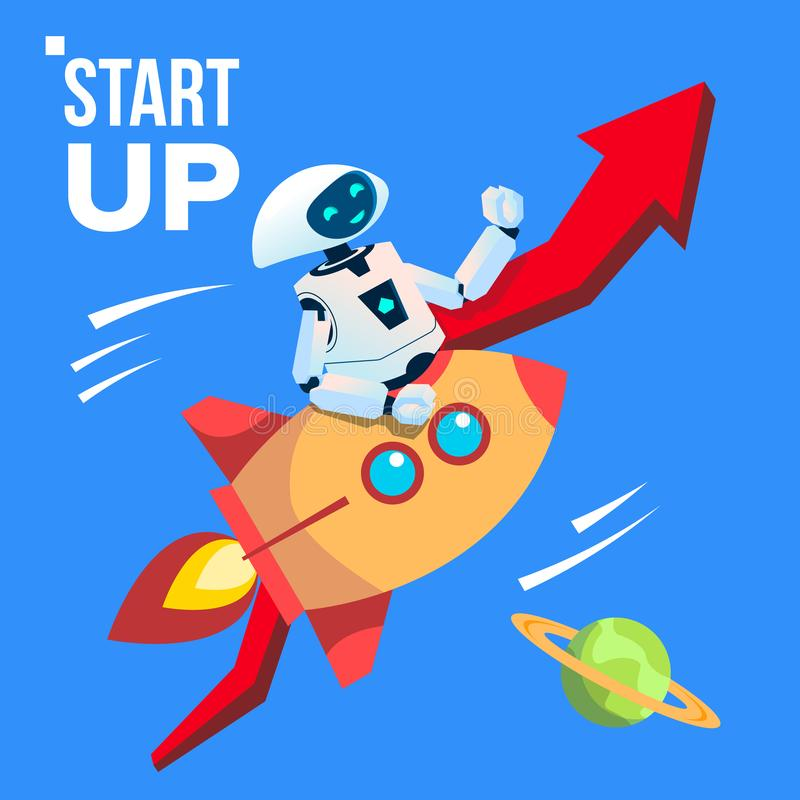 Robot Going By Space Rocket Vector. Start Up. Isolated Illustration. Robot Going By Space Rocket Vector. Start Up. Illustration vector illustration