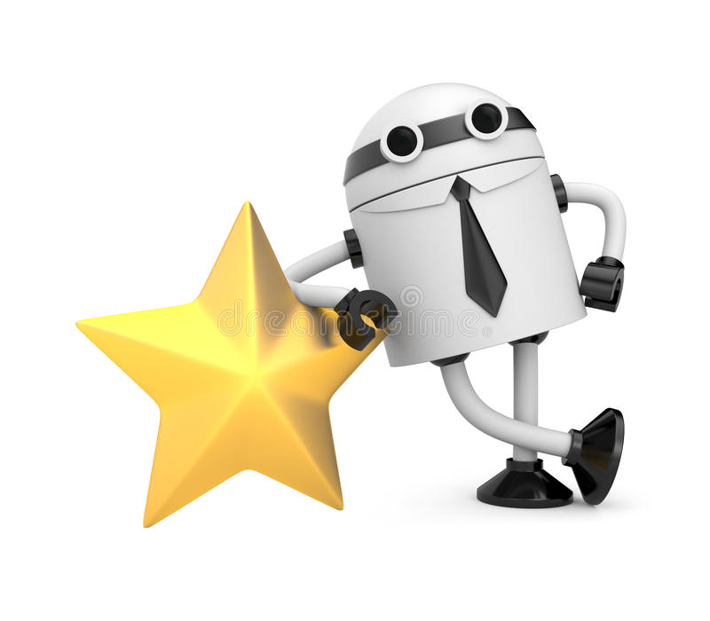 Download Robot With Gold Star Royalty Free Stock Photo - Image: 24626215