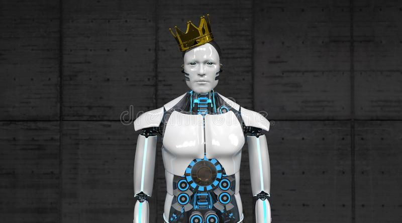 robot golden crown royalty free illustration