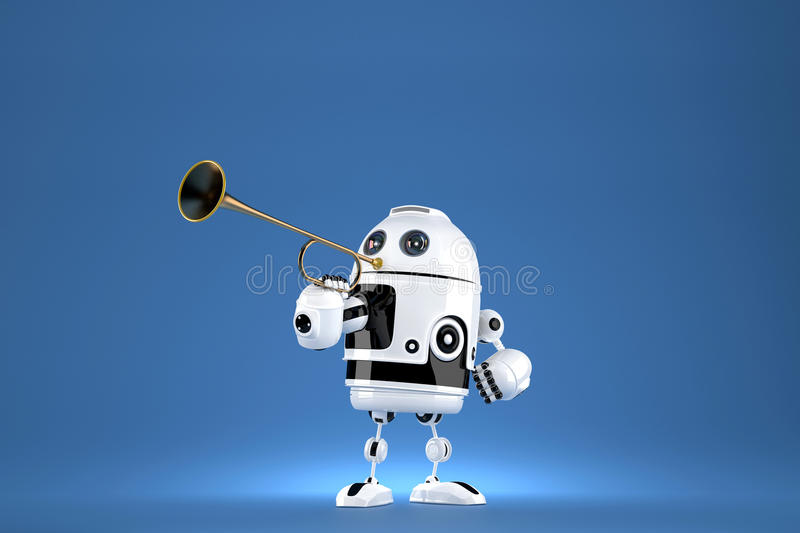 Robot with golden trumpet. 3D illustration. Proclaiming a special occasion. Contains clipping path.  stock illustration