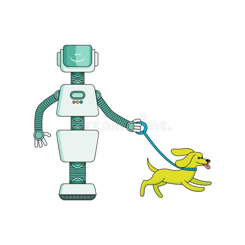 Robot gospodyni spacerów pies - postać z kreskówki odizolowywający na białym tle royalty ilustracja
