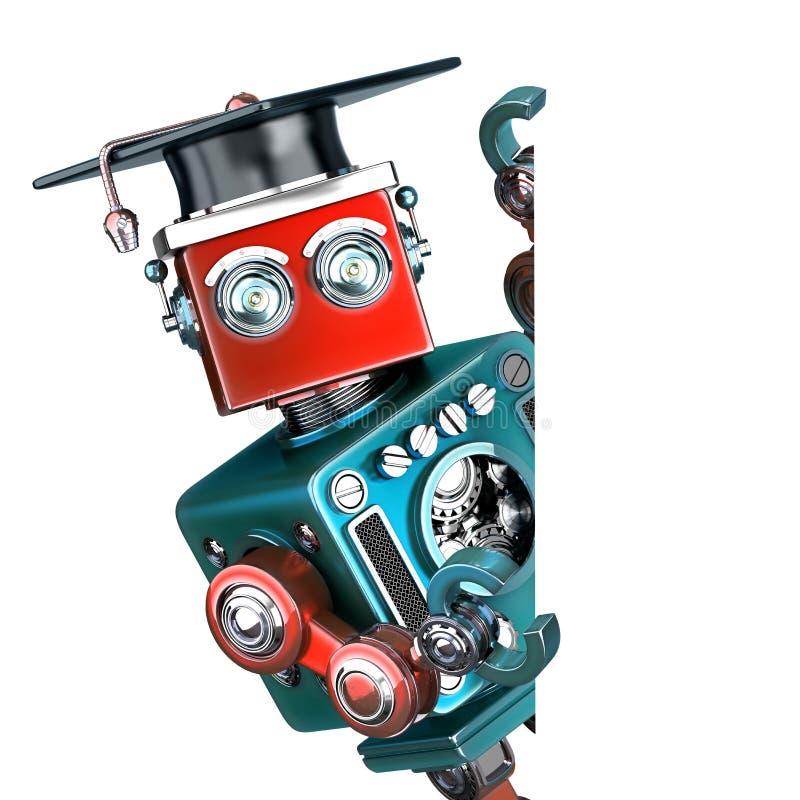 Robot graduado del vintage con una bandera en blanco Contiene la trayectoria de recortes ilustración del vector