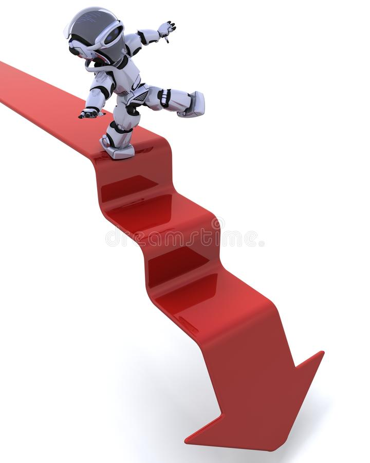 Robot On A Graph Stock Photography
