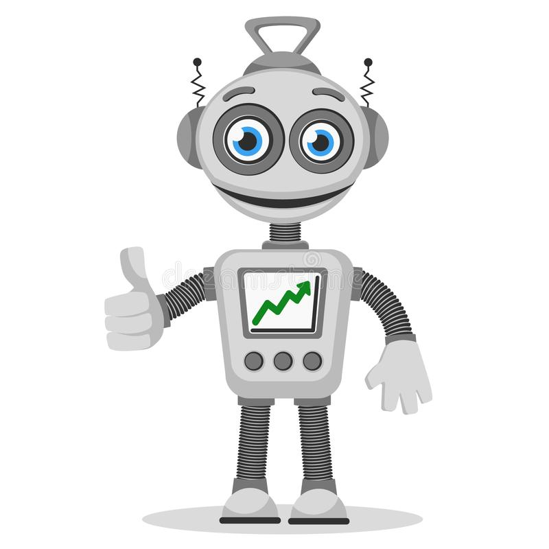 The robot with the graph up on the screen shows like royalty free illustration