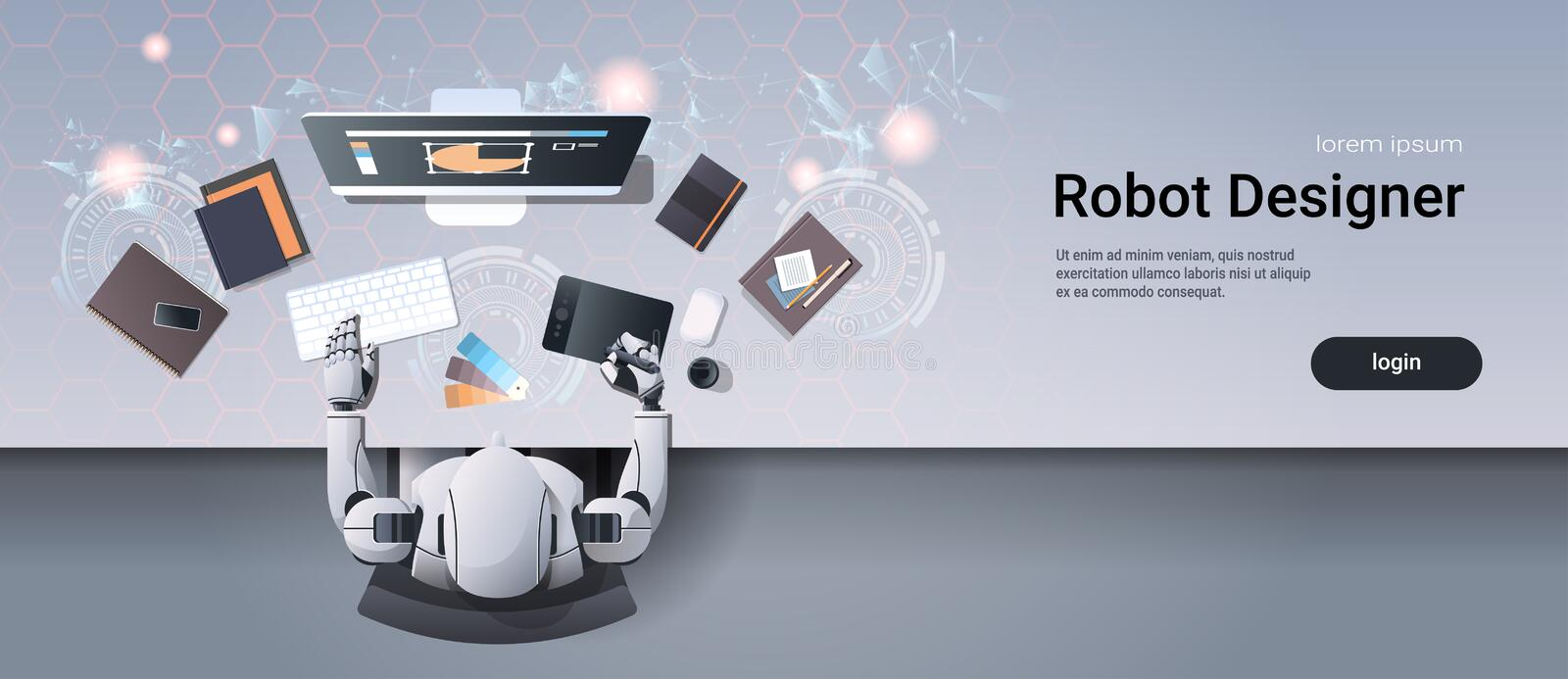Robot graphic designer sitting at creative design studio workplace desk office stuff working process top angle view stock illustration