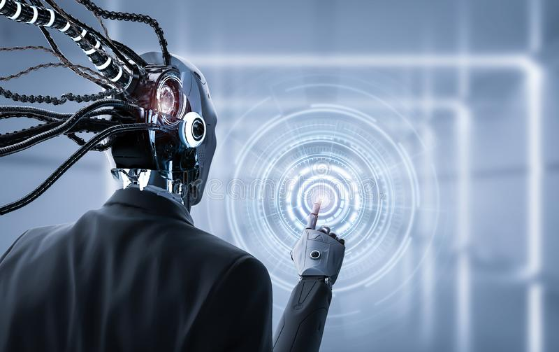 Robot with graphic display. 3d rendering robotic businessman hand point on graphic display stock photo