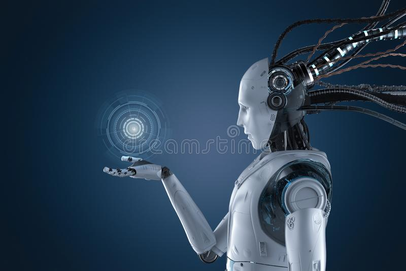 Robot with graphic display. 3d rendering robot working with hud or graphic display stock illustration