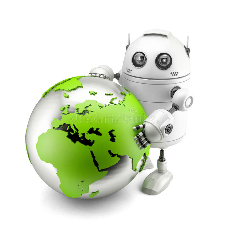 Robot with green earth globe vector illustration