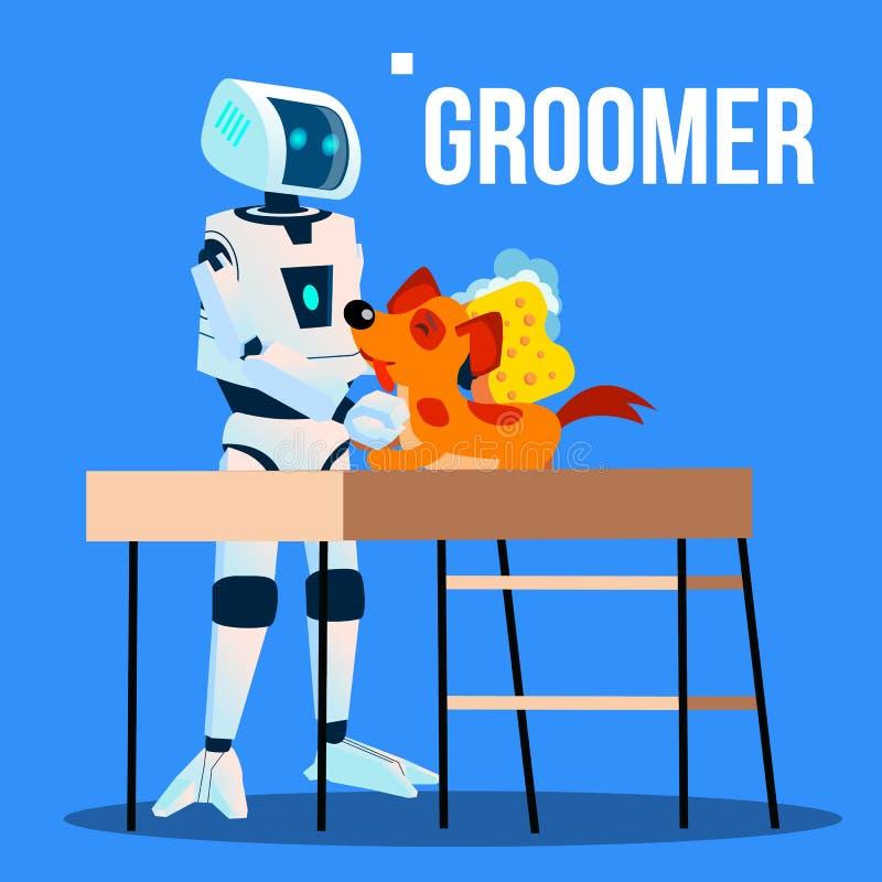 Robot Groomer Assistant Washing Pet Dog With Washcloth Vector. Isolated Illustration royalty free illustration
