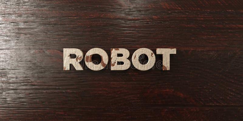 Robot - grungy houten krantekop op Esdoorn - 3D teruggegeven royalty vrij voorraadbeeld royalty-vrije illustratie
