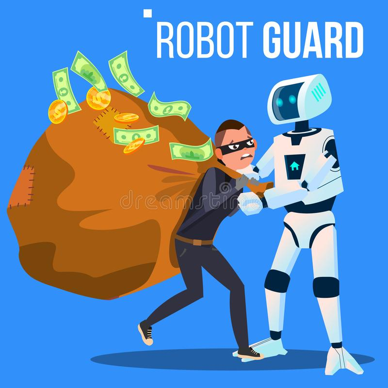 Robot Guard Caught The Thief In Mask With His Hand Vector. Isolated Illustration royalty free illustration