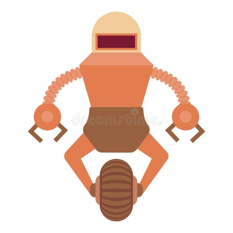 Robot guard icon, cartoon style stock illustration