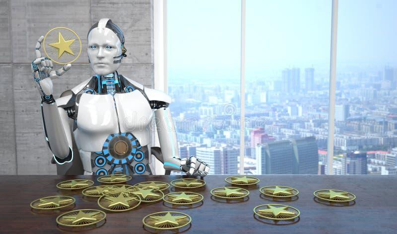 Robot gwiazd Złoty Oszacowywać ilustracja wektor