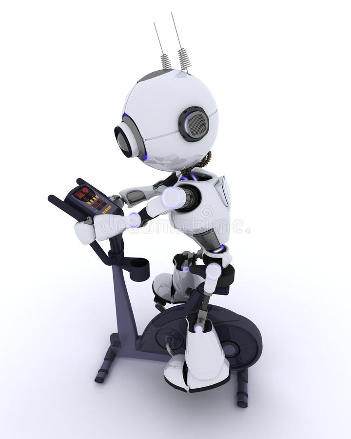 Robot at the gym on an exercise bike stock illustration