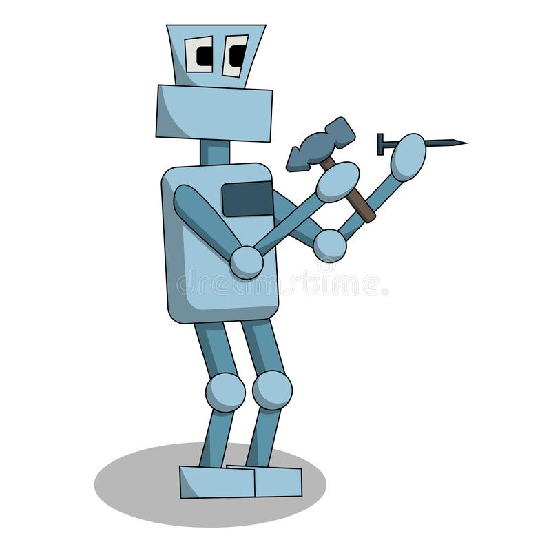The robot is hammering a nail at work. Isolated cartoon  illustration royalty free illustration