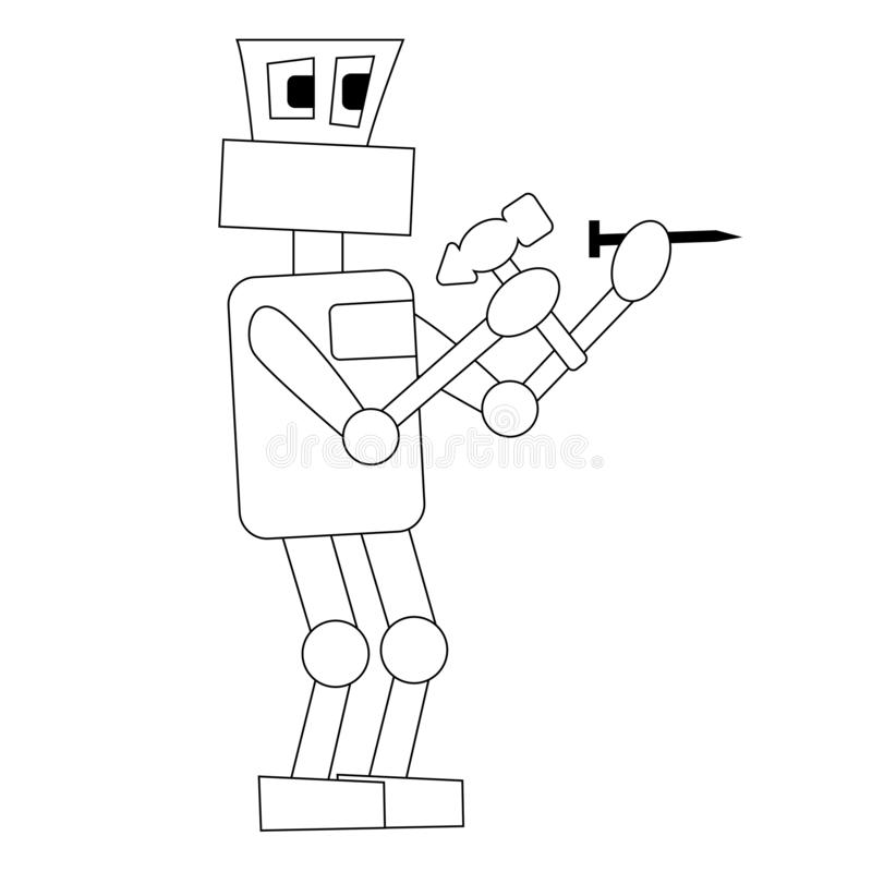 The robot is hammering a nail at work. Isolated outline vector illustration stock illustration