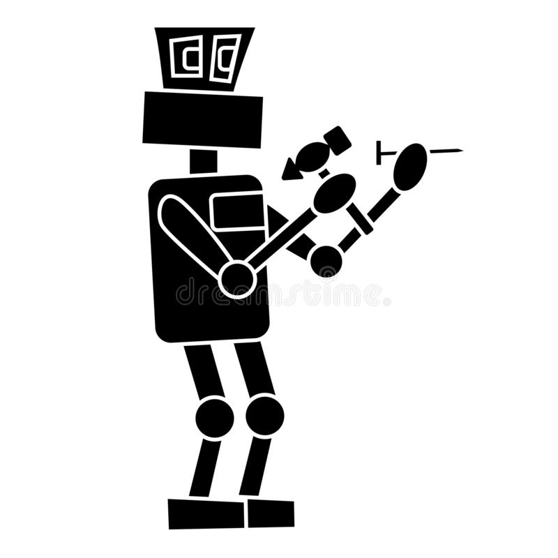 The robot is hammering a nail at work. Isolated simple  illustration royalty free illustration