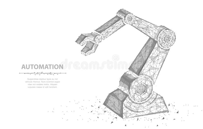 Robot hand. Abstract 3d wireframe Robot hand isolated on white. Automation, conveyor, manufacture or other concept vector illustration or background stock illustration