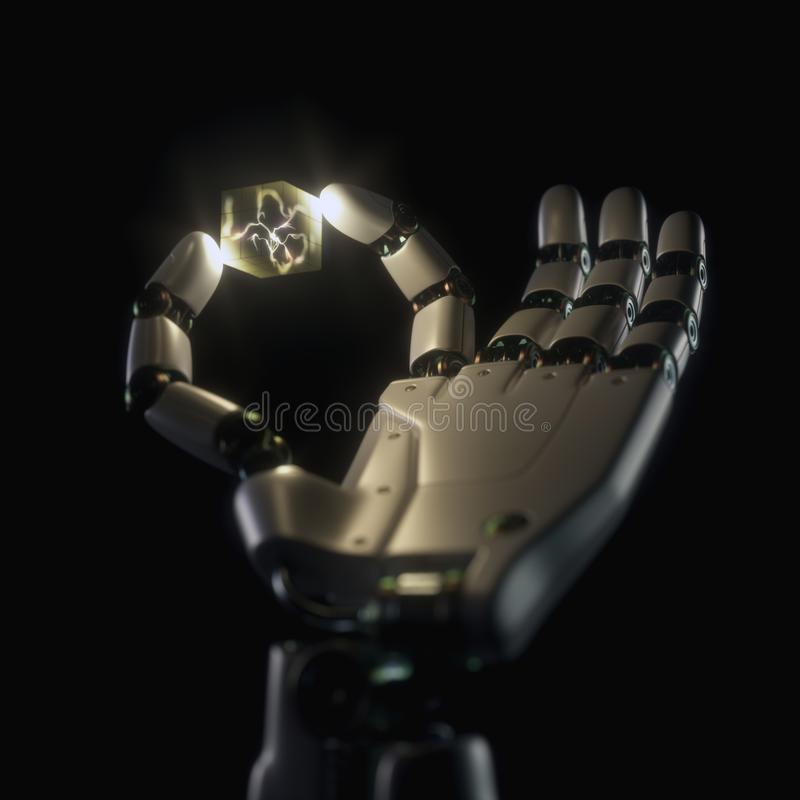 Robot Hand Artificial Intelligence Neuron Inside. Robotic hand holding a cube with an artificial neuron inside. Concept of the evolution of cybernetic prostheses stock image