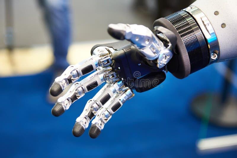 Robot hand closeup. Futuristic electronic robot hand closeup stock images