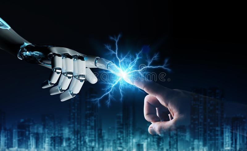 Robot hand creating electricity with human hand 3D rendering royalty free illustration