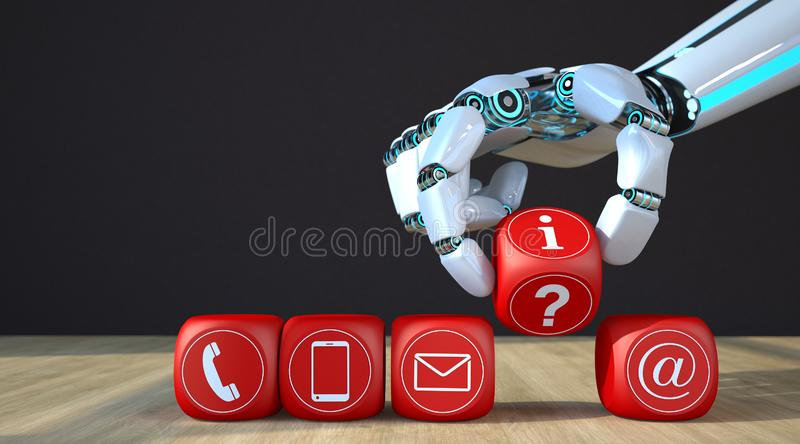 Robot Hand Cubes Contact Icons stock illustration