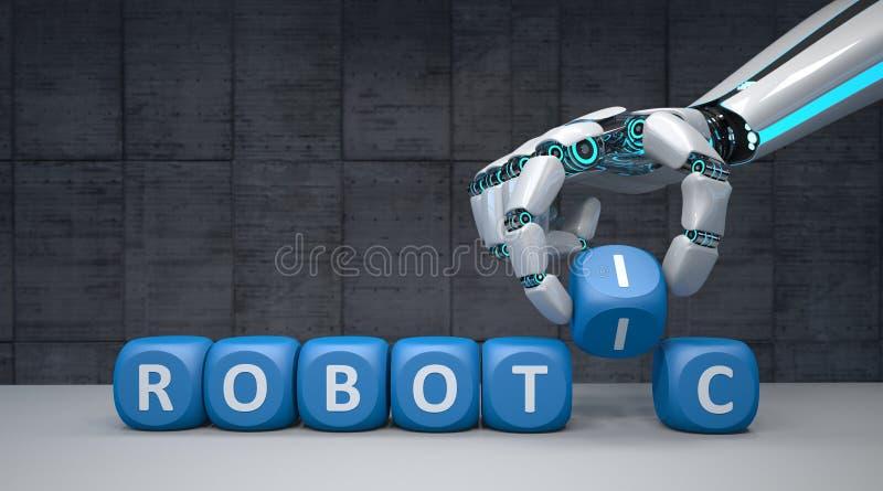 Robot Hand Cubes Robotic royalty free illustration