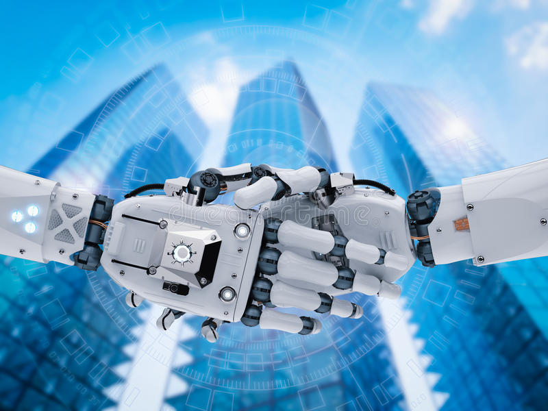 Robot hand or cyborg hand shaking. 3d rendering robot hand or cyborg hand shaking stock images
