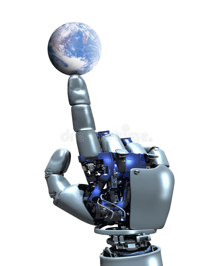 Robot hand and Earth Globe royalty free illustration