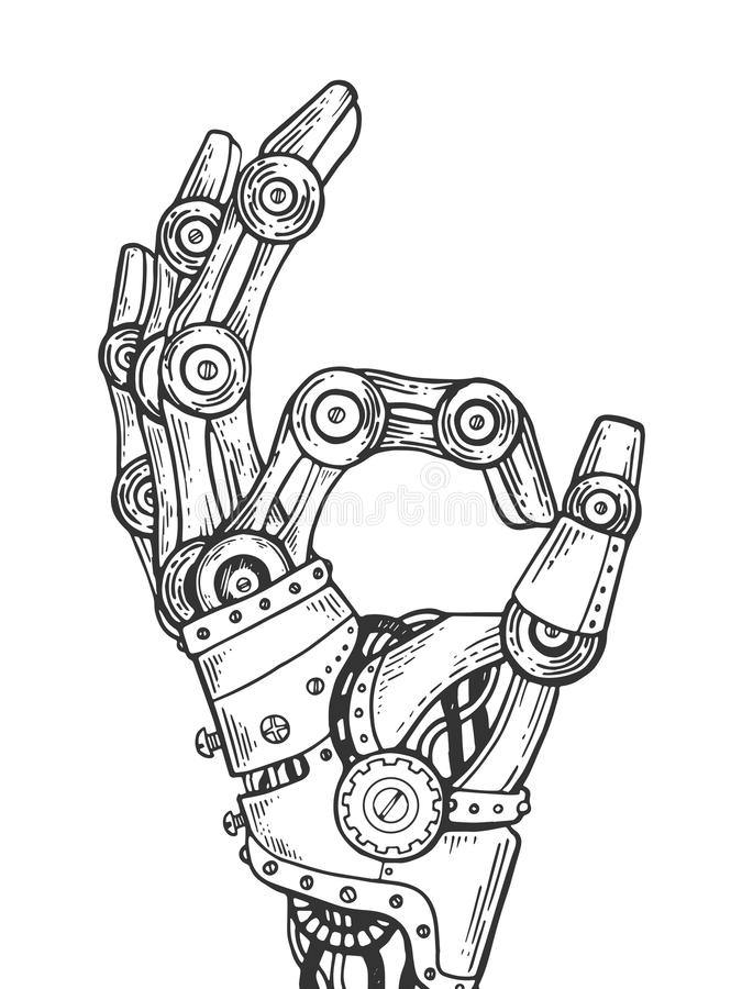 Robot hand engraving vector illustration. Mechanical human robot hand engraving vector illustration. Scratch board style imitation. Black and white hand drawn vector illustration