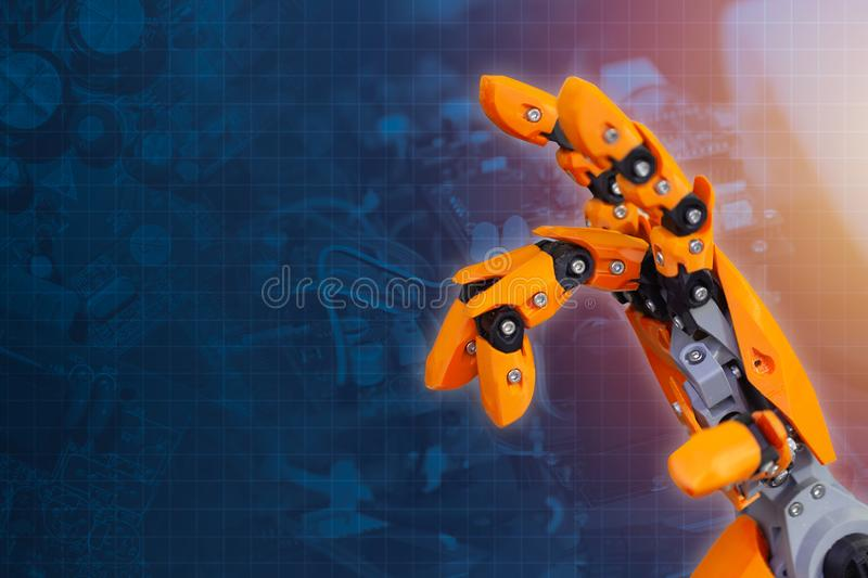 Robot hand finger for advance technology of cyber robotic future innovation royalty free stock photography