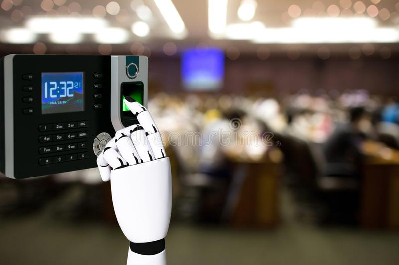 Robot hand with fingerprint scanning technology in the meeting. Room stock photo