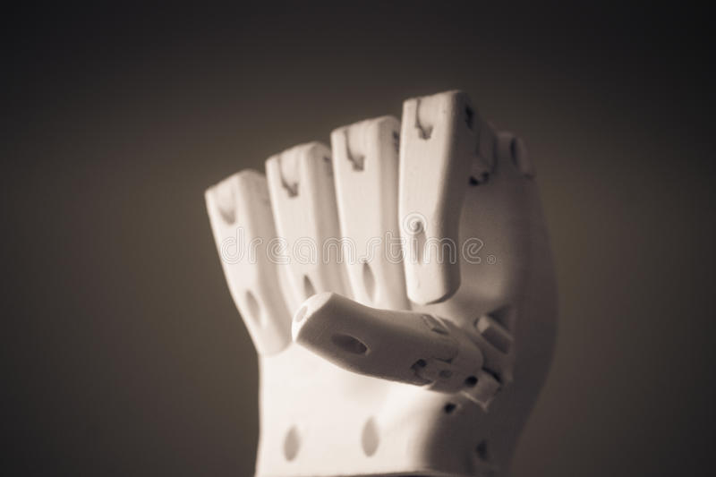 Robot hand fingers from plastic. Close-up conceptual royalty free stock image
