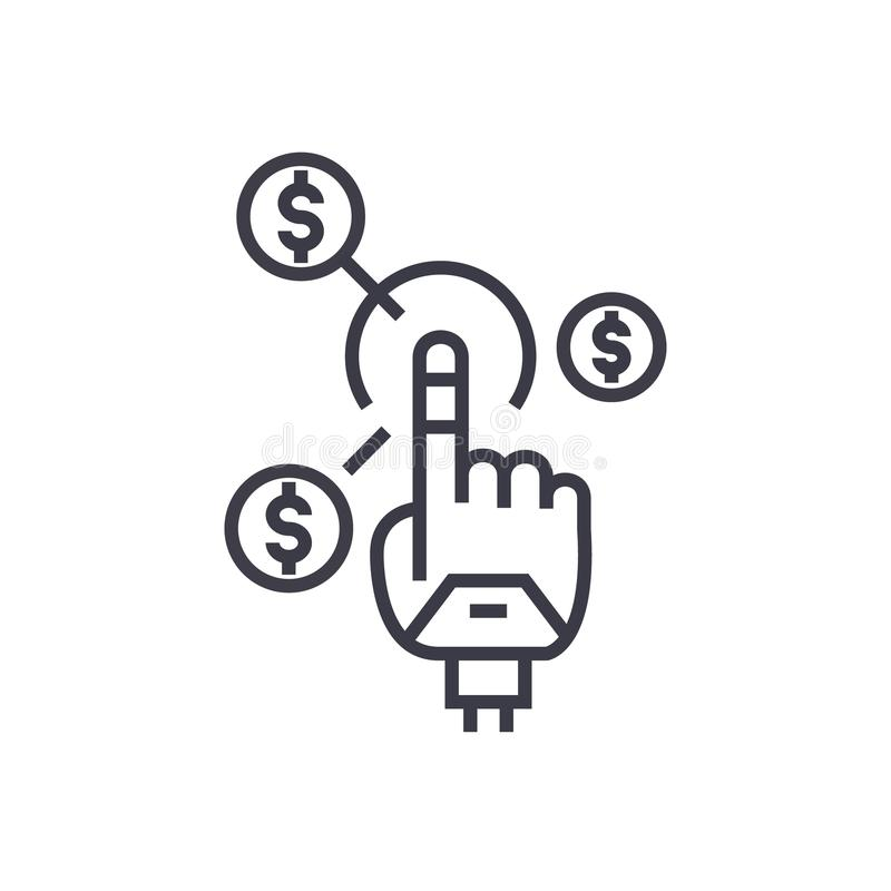 Robot hand, future finance concept vector thin line icon, symbol, sign, illustration on isolated background. Robot hand, future finance concept vector thin line royalty free illustration