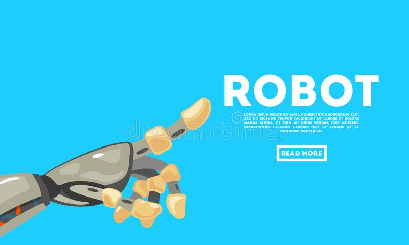 Robot hand gesture. Bot. Mechanical technology machine engineering symbol. Futuristic design concept. Vector vector illustration