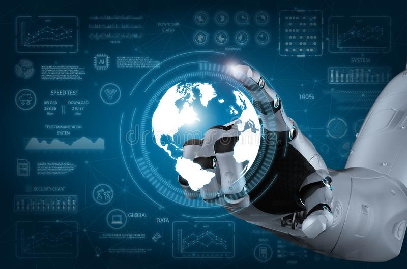 Robot hand with graphic display stock image