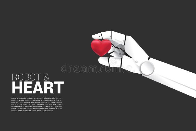 Robot hand hold the heart 3D. vector illustration