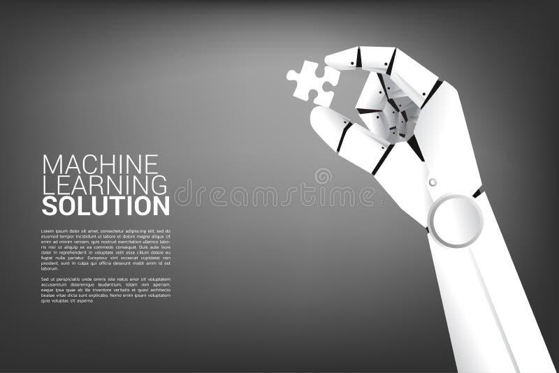 Robot hand hold jigsaw. vector illustration