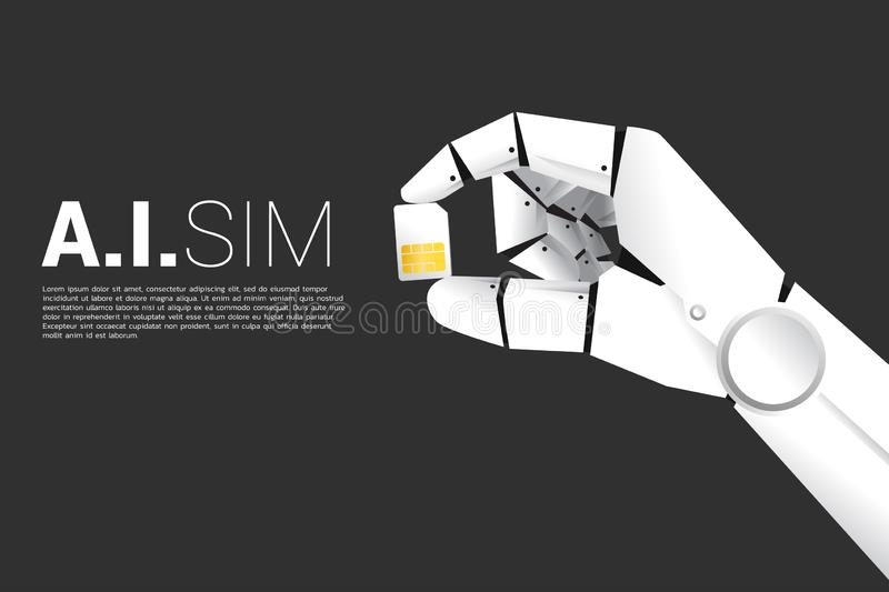Robot hand with hold machine learning sim card. Concept for a.i artificial intelligence sim technology royalty free illustration