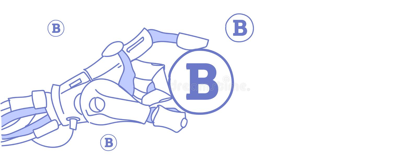 Robot hand holding bitcoin mining virtual assistance crypto currency concept artificial intelligence sketch doodle vector illustration